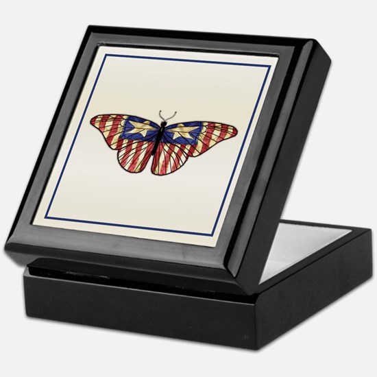 American Flag Butterfly Keepsake Box