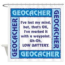 Blue Geocacher Lost Mind Shower Curtain