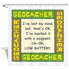 Green Geocacher Lost Mind Shower Curtain