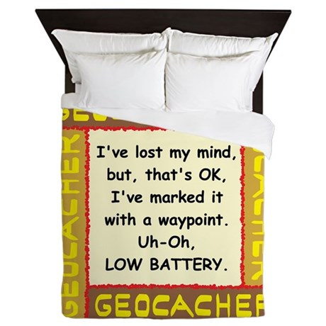 Brown Geocacher Lost Mind Queen Duvet