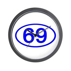 Number 69 Oval Wall Clock