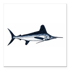 "White Marlin Logo Square Car Magnet 3"" x 3"""