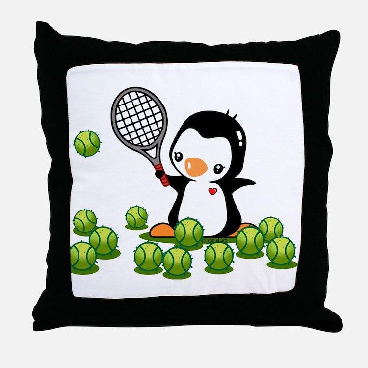 Tennis Penguin Throw Pillow