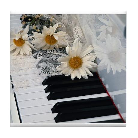 Piano and Daisies Tile Coaster