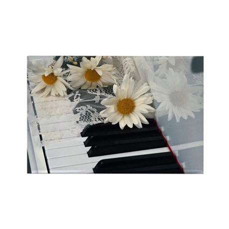Piano and Daisies Rectangle Magnet (10 pack)