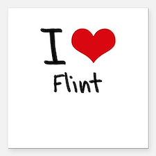 "I Love Flint Square Car Magnet 3"" x 3"""