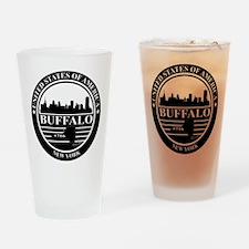 Buffalo logo black and white Drinking Glass