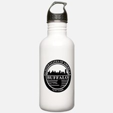 Buffalo logo black and white Water Bottle