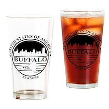 Buffalo logo white and black Drinking Glass