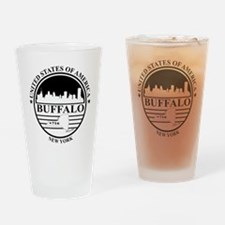 Buffalo logo white and black Drinking Glass