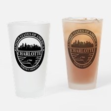 Charlotte logo black and white Drinking Glass