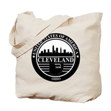 Cleveland Logo black and white Tote Bag