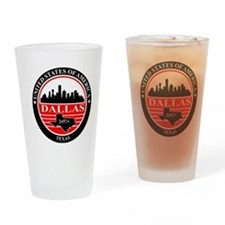 Dallas logo black and red Drinking Glass