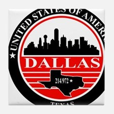 Dallas logo black and red Tile Coaster
