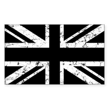"""Black Union Jack"" Rectangle Sticker"