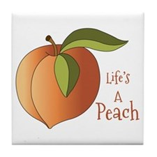 Lifes A Peach Tile Coaster