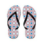Red White Blue Pattern Flip Flops