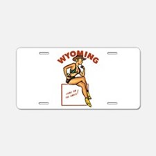 Vintage Wyoming Pinup Aluminum License Plate
