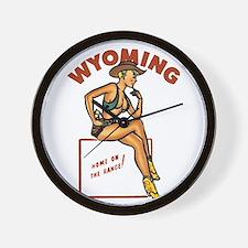 Vintage Wyoming Pinup Wall Clock