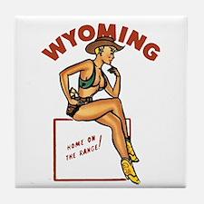 Vintage Wyoming Pinup Tile Coaster