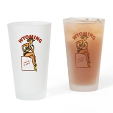 Vintage Wyoming Pinup Drinking Glass