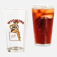 Vintage Wyoming Pinup Drinking Glass