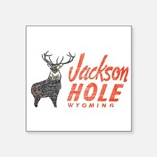 "Vintage Jackson Hole Square Sticker 3"" x 3"""
