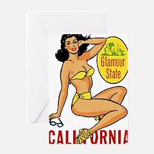 Vintage Cali Pinup Greeting Card