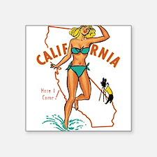 "Vintage California Pinup Square Sticker 3"" x 3"""