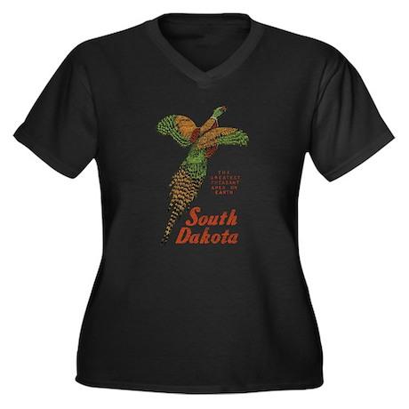 South Dakota Pheasant Women's Plus Size V-Neck Dar