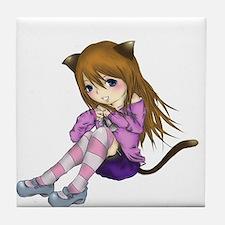 Chibi Cat Tile Coaster