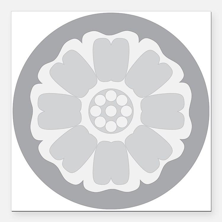 """White Lotus Tile Square Car Magnet 3"""" x 3"""""""