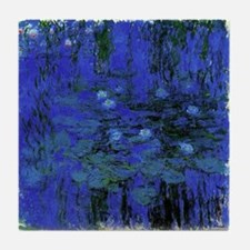 Claude Monet Art Tile Coaster Blue Waterlillies