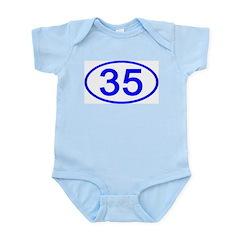Number 35 Oval Infant Bodysuit