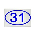 Number 31 Oval Rectangle Magnet (100 pack)