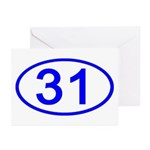 Number 31 Oval Greeting Cards (Pk of 10)