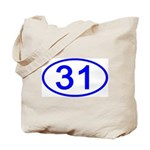 Number 31 Oval Tote Bag
