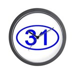 Number 31 Oval Wall Clock