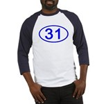 Number 31 Oval Baseball Jersey