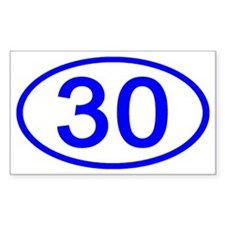 Number 30 Oval Rectangle Bumper Stickers