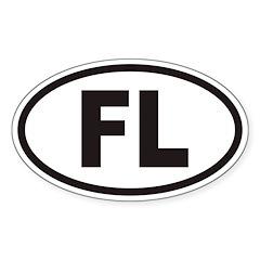 Florida FL Euro Oval Sticker (non-branded)