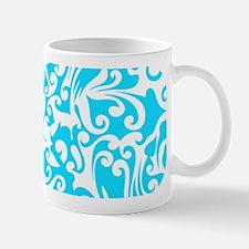 Turquoise & White Swirls #2 Mug