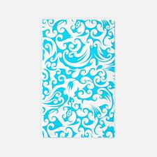 Turquoise & White Swirls #2 3'x5' Area Rug