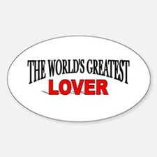 """""""The World's Greatest Lover"""" Oval Decal"""