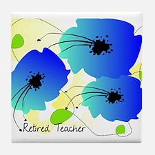 Retired Teacher Floral Tile Coaster