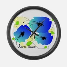 Retired Teacher Floral Large Wall Clock
