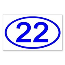 Number 22 Oval Rectangle Decal