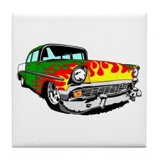 This 56 Bel air is on fire! Tile Coaster