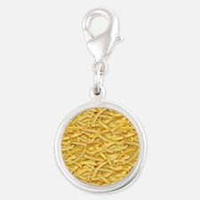 Free Fries Silver Round Charm