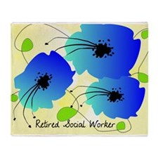 Retired Social Worker Blue Flowers Throw Blanket